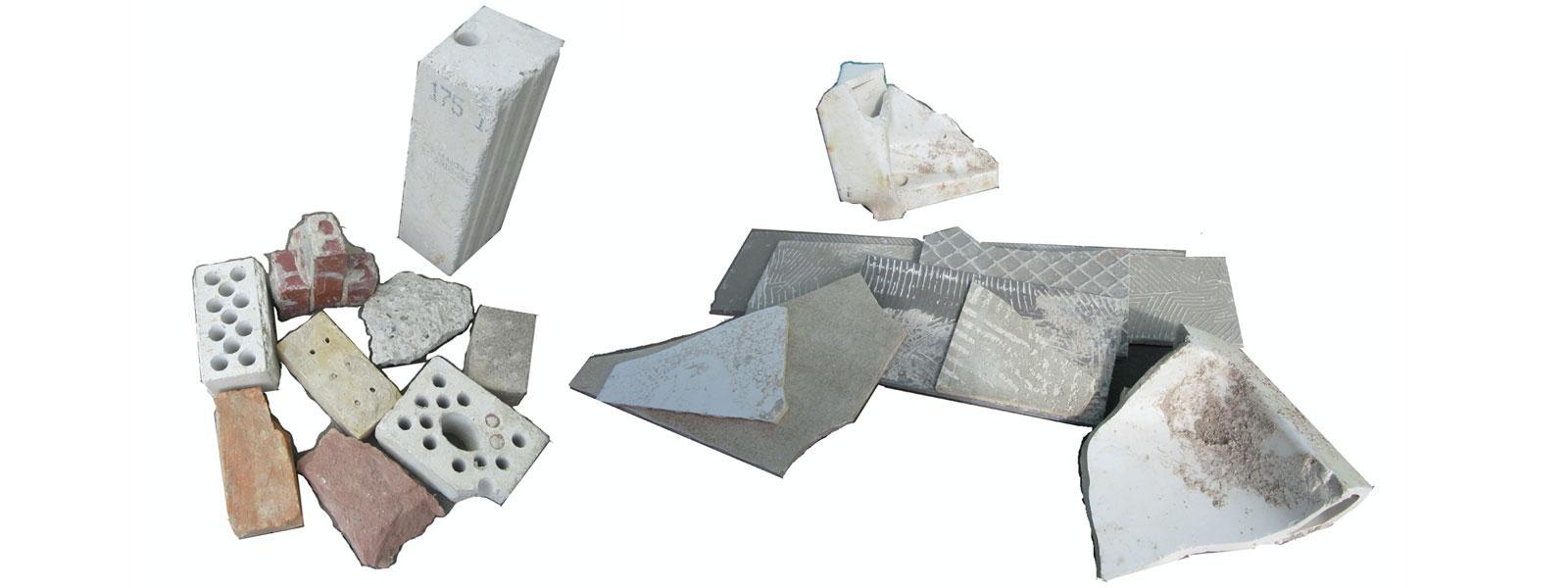 Gemische aus Beton, Ziegeln, Fliesen und Keramik