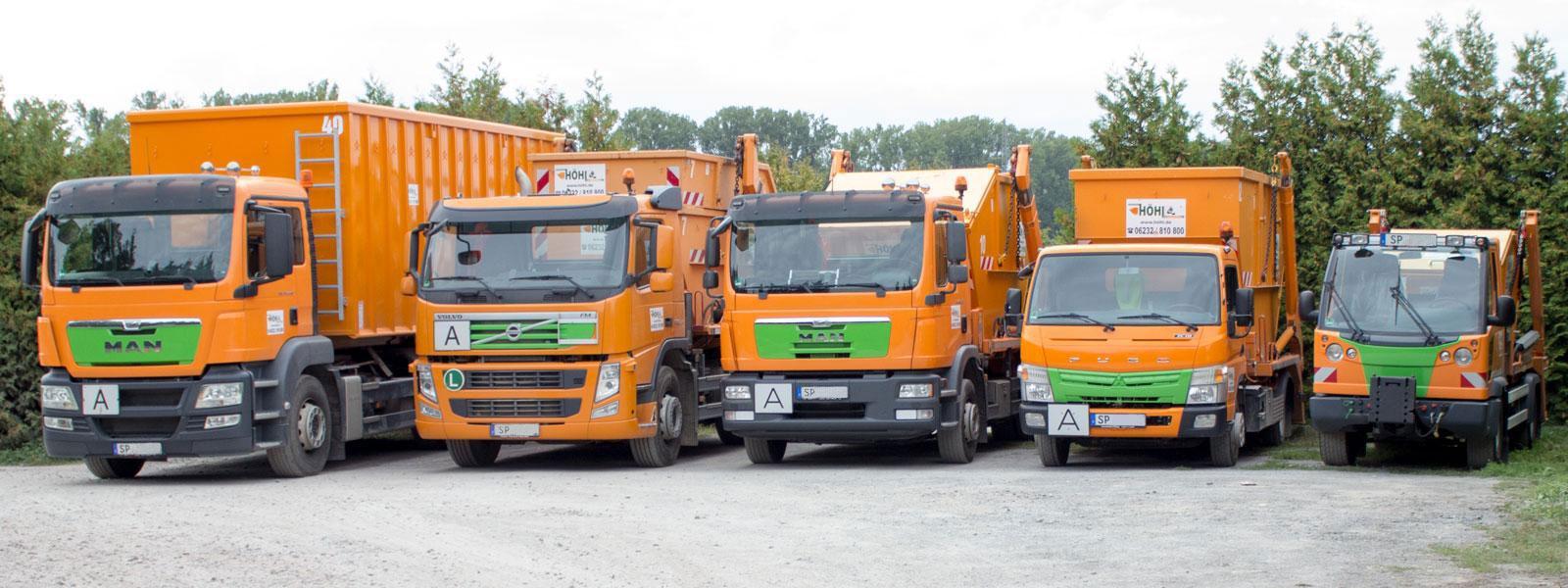 LKW mit Container von groß nach klein